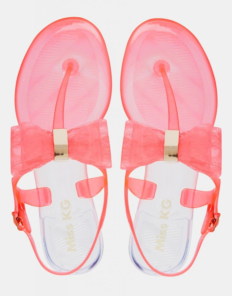 Miss KG Darla Pink Bow Jelly Flat Sandals