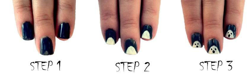 ghost nail art tutorial