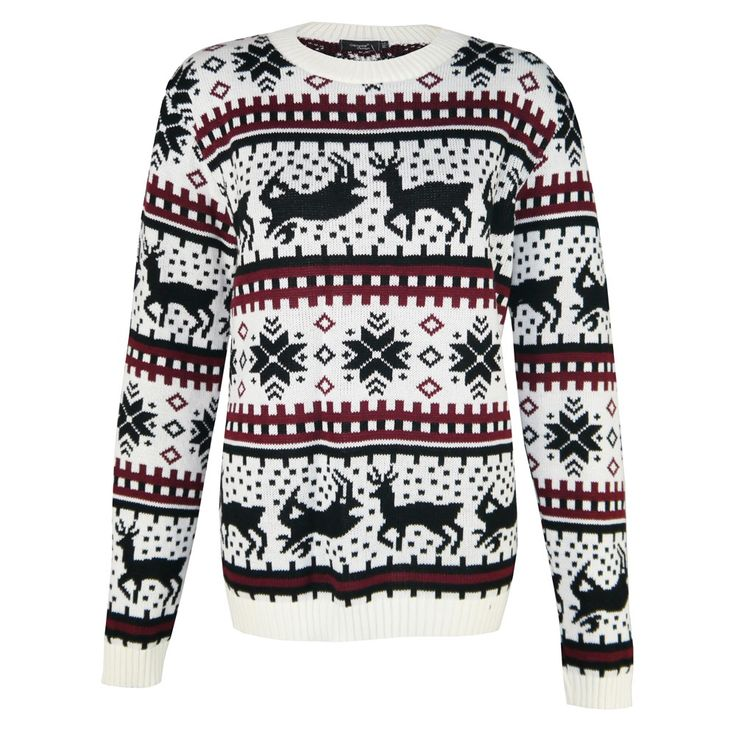 Womens Fairisle Dear Knitted Jumper